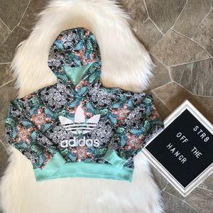 adidas various animal print cropped hoodie size XS